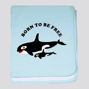 Free the whales baby blanket