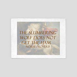 The Slumbering Wolf 5'x7'Area Rug
