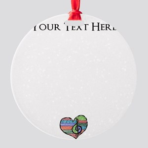 Personalized Music Doodle Hea Round Ornament