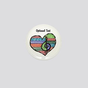 Personalized Music Doodle Hea Mini Button