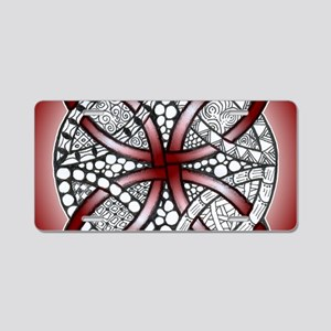 Celtic Knot Doodle Red Aluminum License Plate