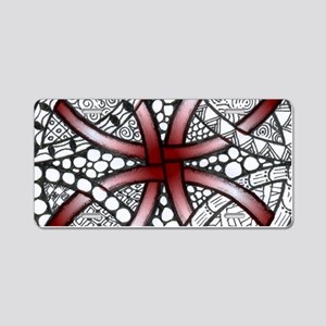 Red Celtic Knot Doodle Aluminum License Plate