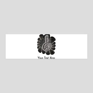 Customizable Black with White Treble Clef 36x11 Wa
