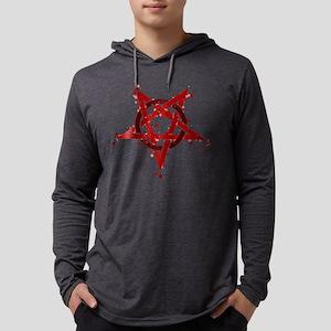 Red Satanic Spotted Pentagram Long Sleeve T-Shirt