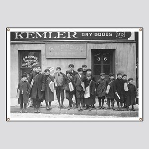 Delivering the Sunday Papers, 1909 Banner