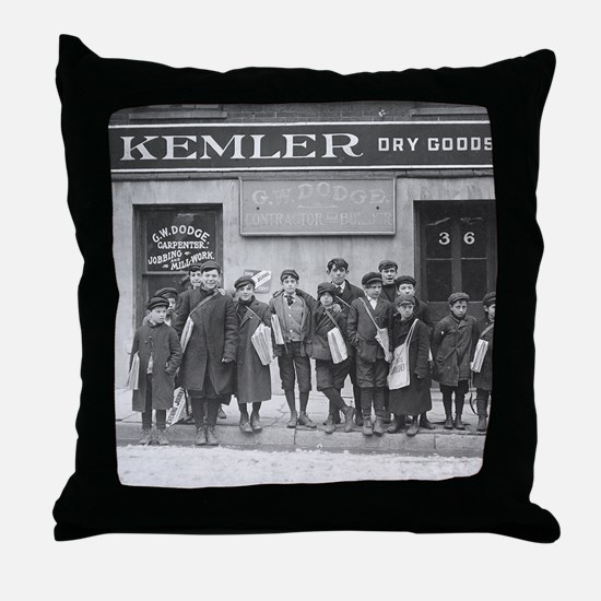 Delivering the Sunday Papers, 1909 Throw Pillow