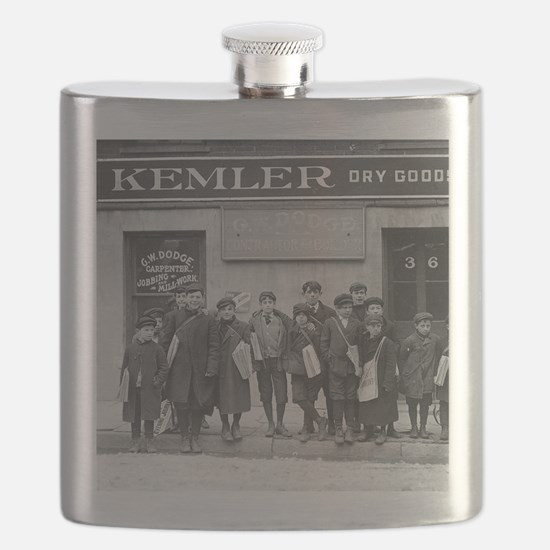 Delivering the Sunday Papers, 1909 Flask