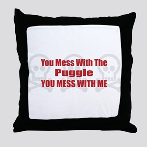 Mess With Puggle Throw Pillow