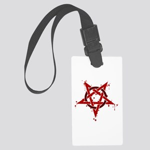 Red Satanic Spotted Pentagram Large Luggage Tag