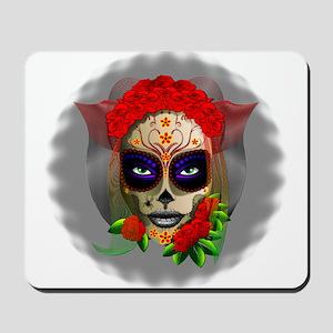 Skull Girl Dia de los Muertos Mousepad