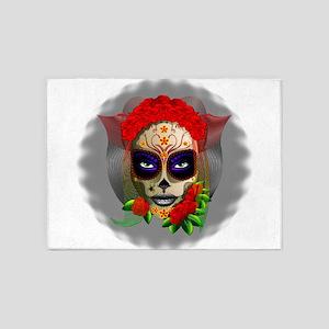 Skull Girl Dia de los Muertos 5'x7'Area Rug