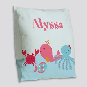 Under the Sea Personalized Burlap Throw Pillow