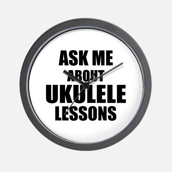 Ask me about Ukulele lessons Wall Clock