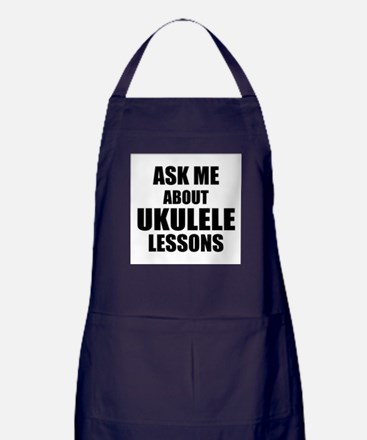 Ask me about Ukulele lessons Apron (dark)