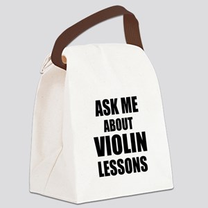 Ask me about Violin lessons Canvas Lunch Bag