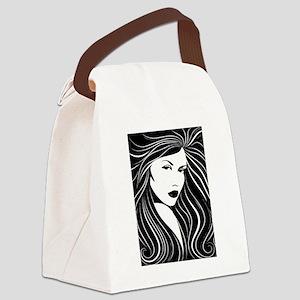 Black Hair Canvas Lunch Bag