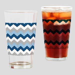 Classy Blue Chevron Stripes Drinking Glass
