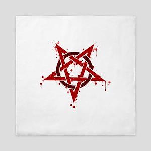 Red Satanic Spotted Pentagram Queen Duvet