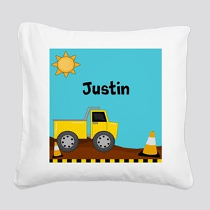 Construction Truck Personalized Square Canvas Pill