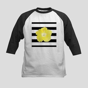 Yellow Hibiscus Flower on Black Stripes Baseball J