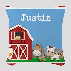 Farm Animals Kids Personalized Woven Throw Pillow
