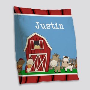 Farm Animals Kids Personalized Burlap Throw Pillow