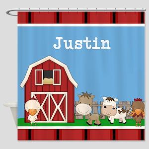Farm Animals Kids Personalized Shower Curtain