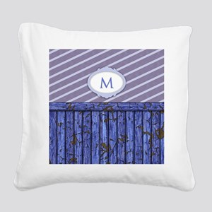 Maritime Monogram Blue Square Canvas Pillow