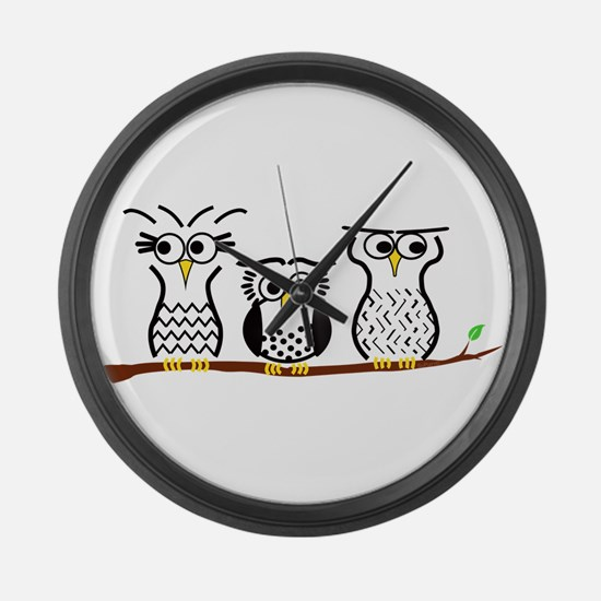 Three Little Owls Large Wall Clock