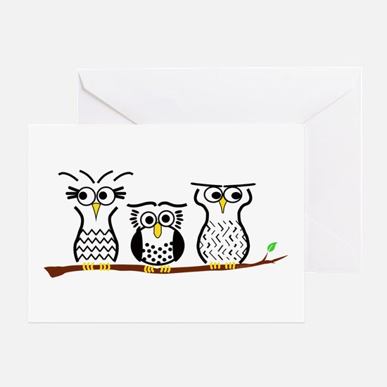 Three Little Owls Greeting Cards