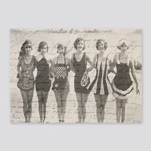 Vintage French Script Beach Beauties 5'x7'area Rug