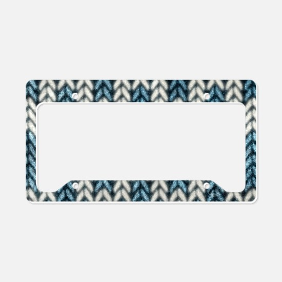 Blue Knit Graphic Pattern License Plate Holder