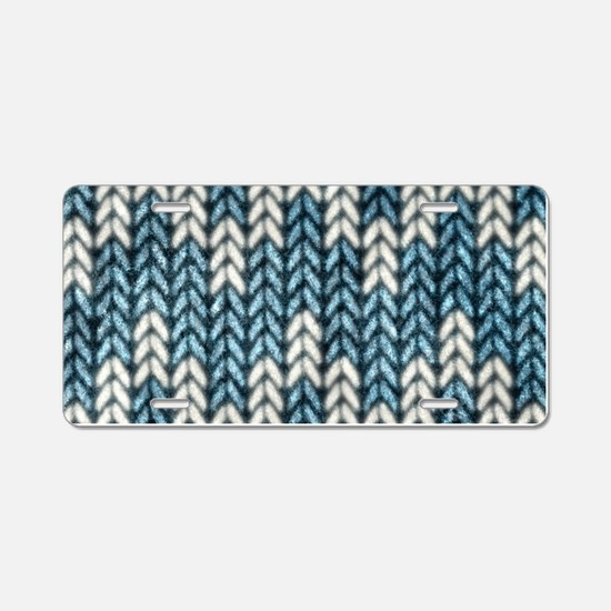 Blue Knit Graphic Pattern Aluminum License Plate