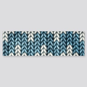 Blue Knit Graphic Pattern Bumper Sticker