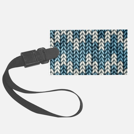 Blue Knit Graphic Pattern Luggage Tag