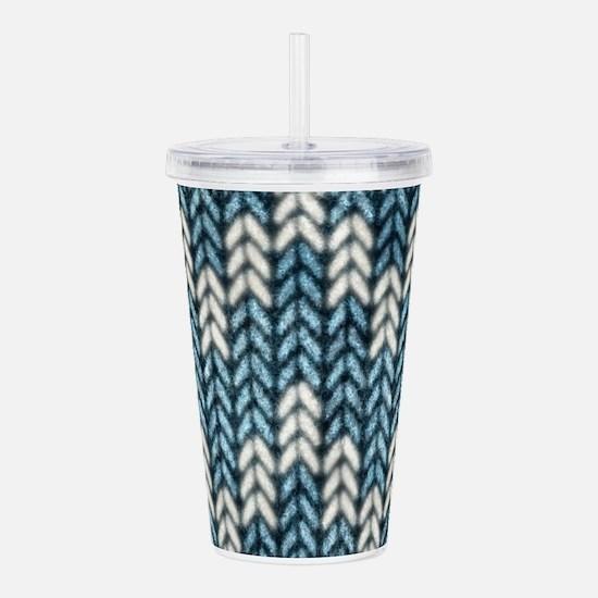 Blue Knit Graphic Pattern Acrylic Double-wall Tumb