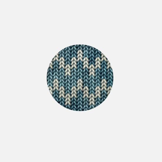 Blue Knit Graphic Pattern Mini Button