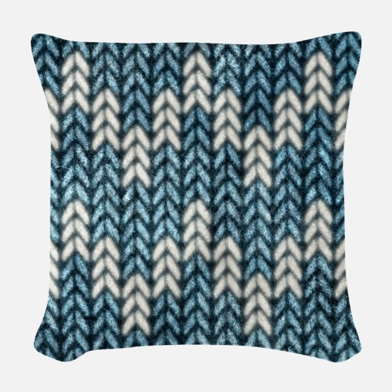 Blue Knit Graphic Pattern Woven Throw Pillow