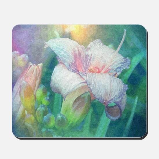 pastel lilies oil painting Mousepad