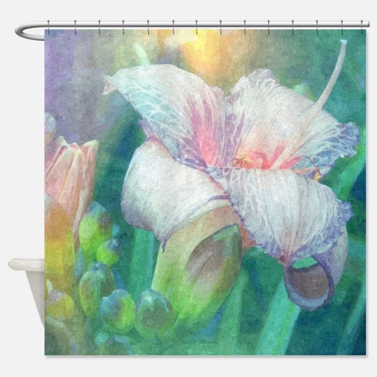 pastel lilies oil painting Shower Curtain