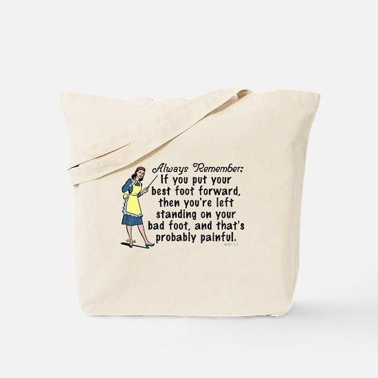 Funny Retro Best Foot Demotivational Tote Bag