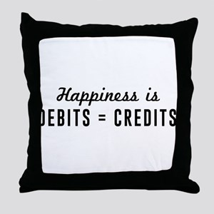 Happiness is debits credits Throw Pillow