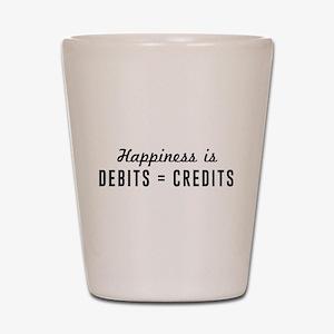 Happiness is debits credits Shot Glass