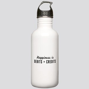 Happiness is debits credits Water Bottle