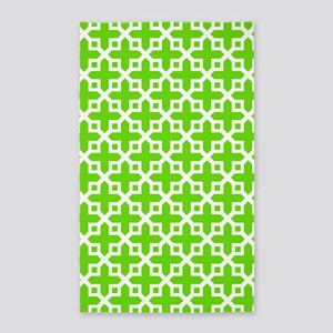 Cross Section Pattern Green and Whi 3'x5' Area Rug