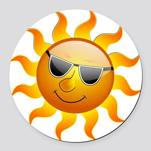 cool smiley face sunshine round car magnet