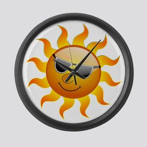 COOL SMILEY FACE SUNSHINE Large Wall Clock
