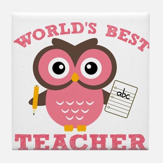 World's Best Teacher (Pink) Tile Coaster