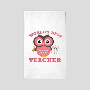 World's Best Teacher (Pink) 3'x5' Area Rug