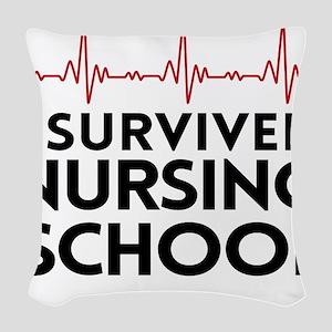 I survived nursing school Woven Throw Pillow